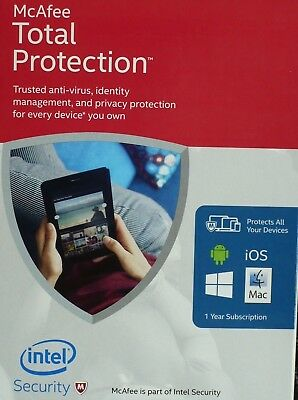NEW Mcafee TOTAL protection Internet Security AntiVirus 2017 1 Year 1PC KEY ESD