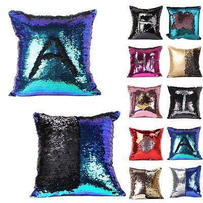 Double Color Reversible Sequins Mermaid Glitter Sofa Cushion Cover Pillow Case