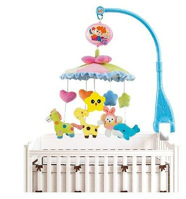 Baby Toddler Bed Crib Wind-Up Soft Musical Hanging Ring Rotate Rattle Bell #669