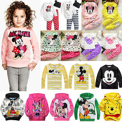 Baby Kids Girls Mickey Minnie Hoodie Coat T Shirt Tops Pants Dress Outfits Set