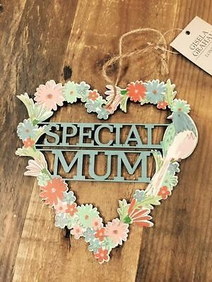 Gisela Graham Special Mum Laser Cut Floral Heart Wreath/Wall Hanging