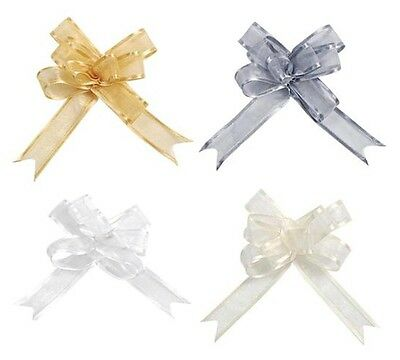 small organza pull bows, Gold Silver White Ivory, gift wrapping wedding favors