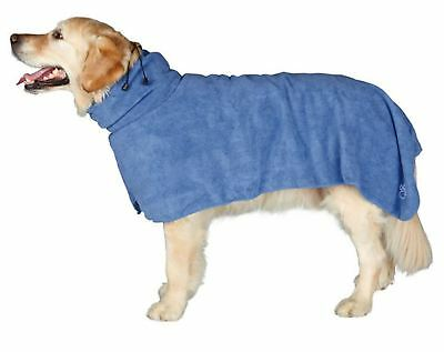 Dog Bathrobe Mircrofibre Towel Blue All Sizes For All Dogs By Trixie