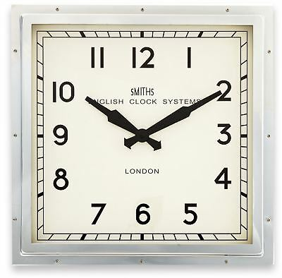 """41cm Bright Chrome """"Smiths London"""" Square Contemporary Modern Style Wall Clock"""