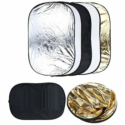 HOT 5 in 1 Photography Collapsible Light Reflector Diffuser 60x90cm Set New OY