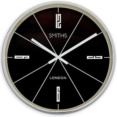 """45cm Black and Silver """"Smiths London"""" Contemporary Modern Style Wall Clock"""