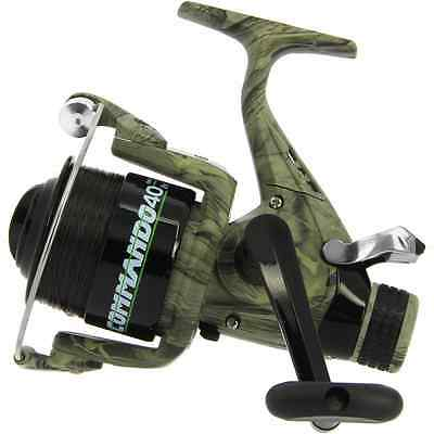 Carp Fishing Camo Lineaeffe Commando 40 Free Runner Reel + Spare Spool With Line