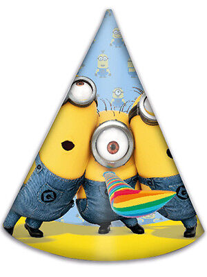 6 x Despicable Me Lovely Minion Cone Shaped Birthday Party Hats