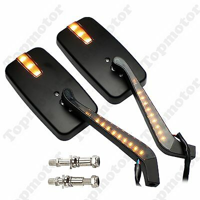 Black Rectangle LED Turn Signals Intergrated Rearview Racing Mirrors For Harley