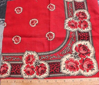 "Antique 19thC French Printed Cotton Turkey Red Rose Bandana Sample~13""Square"