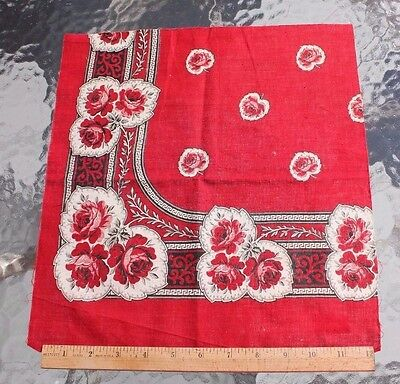 "Antique 19thC French Printed Cotton Turkey Red Rose Bandana Sample~13""Square*"
