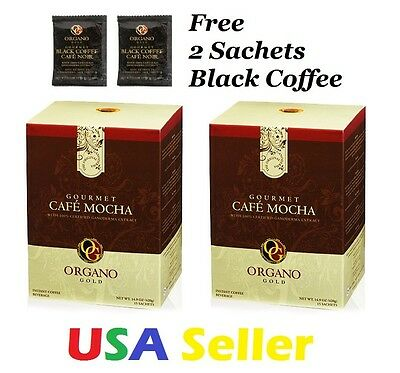 2 BOXES Organo Gold CAFE MOCHA SHIPS EXPEDITE w/ free 2 sample Black Coffee