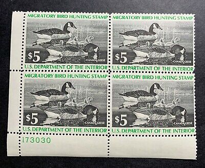 WTDstamps - #RW43 1976 Plate Block - US Federal Duck Stamp - Mint OG NH