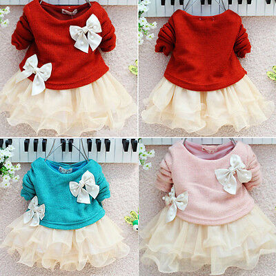 Christmas Baby Girls Dress Knit Crochet Sweater Tops Lace Bowknot Dresses Skirts