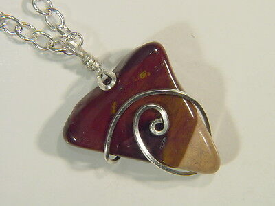 BUTW Sterling Silver wire wrapped Australia mookaite pendant necklace 4961E