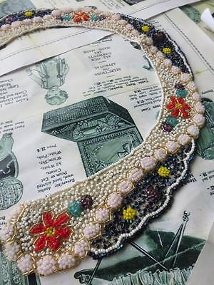Intricate & Colourful Antique Art Deco Beaded Collar