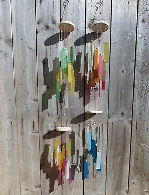 Fair Trade Hand Made Glass Garden Wall Art Rectangle Wind Chime Mobile Windchime