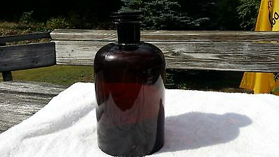 LARGE Vintage Amber  Glass Apothecary Jar (Medicine Bottle)     #634