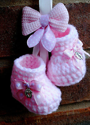New Baby Christening Gift Present Girl Pink Hanging Pram Charm Booties Shoes