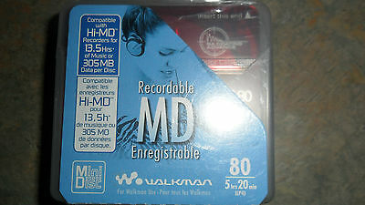 5 Sony MD80 Blank Mini Disc 80 Minutes Recordable MD (new)