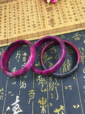 1p Beautiful Peach Blossom Hetian #Jade Bangle 100% Natural Hand-Carved Bracelet