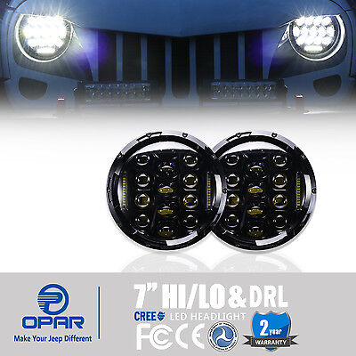 Pair 7''Inch Round LED Headlight Hummer Lights With DRL For Jeep Wrangler JK TJ
