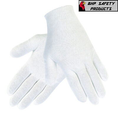 12 Pair 1Dz White Inspection Cotton Lisle Gloves Coin Jewelry Lightweight