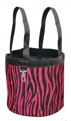 New Hot Pink ZEBRA Showman Collapsible Grooming Tote Bucket w/ Carry Handles