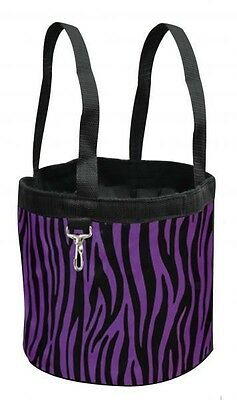 New Purple ZEBRA Showman Collapsible Grooming Tote Bucket w/ Carry Handles
