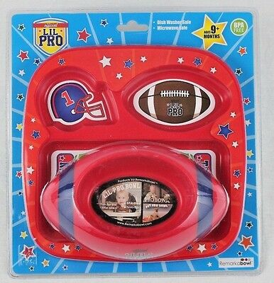 Lil Pro 1-30515 Football Sport Bowl & Tray Plate Feeding Set Red Age 9m+ NEW