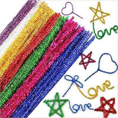 18/100p Chenille Craft Stems Pipe Cleaners Kids Educational Toys Twist Rods 30cm