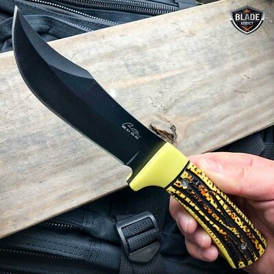 "9.5"" FULL TANG TACTICAL SURVIVAL KNIFE Hunting MILITARY BOWIE Fixed Blade BONE"