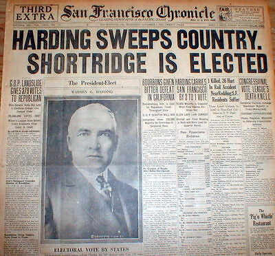 BEST 1920 headline newspaper Republican WARREN G HARDING is ELECTED US PRESIDENT