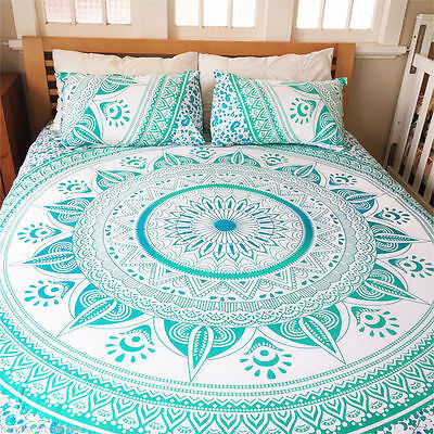 Indian Mandala Tapestry Hippie Wall Hanging Queen Size Bedspread Ombre Dorm Deco