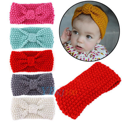 Kids Baby Toddler Girl Crochet Knitted Warm Ear Hair Band Wrap Bow Headband LK