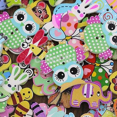 Flatback Wood Animal Buttons For Children Kid 50pcs Handmade Scrapbooking UK