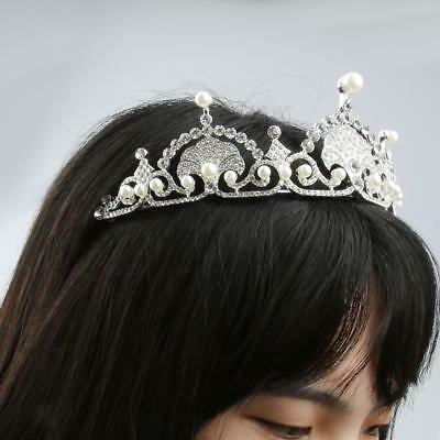 Mariage nuptiale strass cristal perle cheveux Bandeau Tiara Prom Pageant