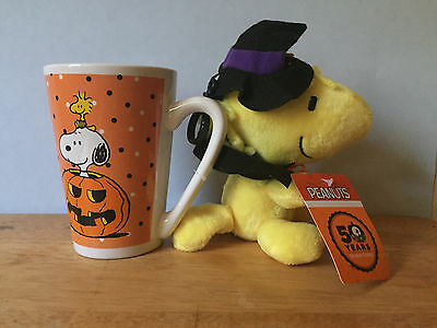 NEW! 50th Peanuts Snoopy Woodstock Ceramic Halloween Latte Coffee Mug Cup Plush