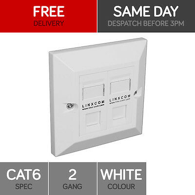 Double Cat6 Data Wall Outlet Face Plate - 2 Port Rj45 Ethernet Network Socket
