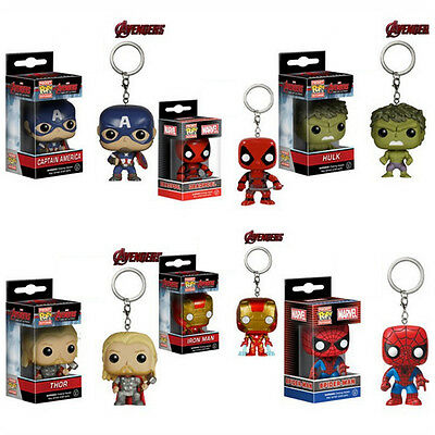 Stainless Steel Pocket Keyrings Deadpool Captain Thor Marvel Avengers Keychains