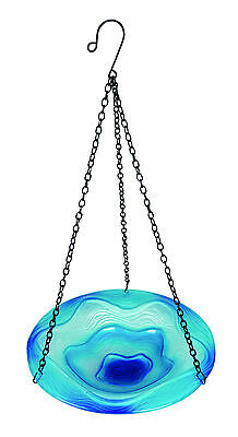 Gardman Mixed Blue Hanging Glass Bird Bath Garden Patio Outdoors Dia. 20cm