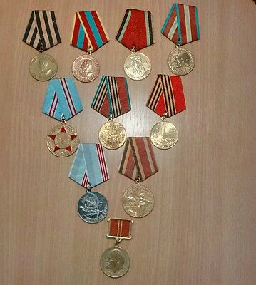 Collection of old medals Total-10pcs. CCCP Russia Date from-1940