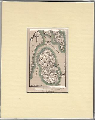 c1890 Hand coloured & mounted engraving/ print - Map of Isle of Arran