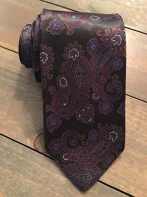Ketch Black Red Blue Gold Paisley Classic Skinny Polyester Mens Neck Tie