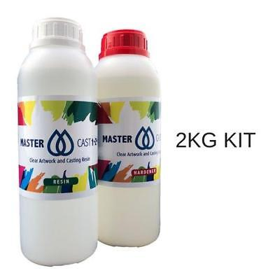 Clear Resin Epoxy Art Grade U.V. Stable 2kg (2L) kit MasterCast, Incl free mixer