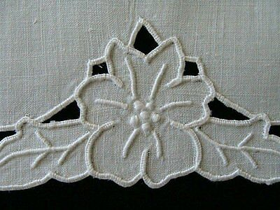 PRISTINE Vtg MADEIRA Linen Guest Towel Whitework Hand Embroidered Cutwork UNUSED