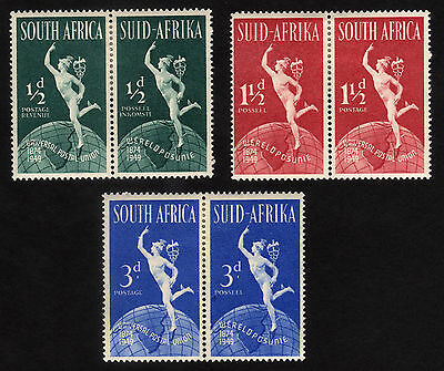 1949 South Africa, The 75th Anniversary of U.P.U set, MH, Sc 109-111