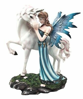 "9"" Tall The Parting Of Lifelong Friends Blue Fairy With Unicorn Figurine Statue"
