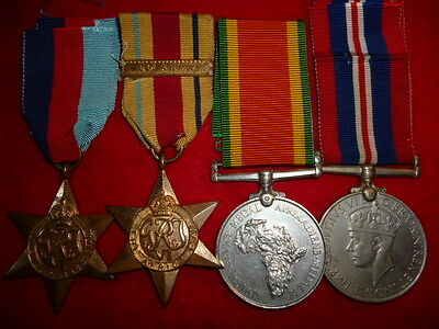 WW2 South African - 8th Army Casualty Medal Group of (4) Medals, Died Tripoli