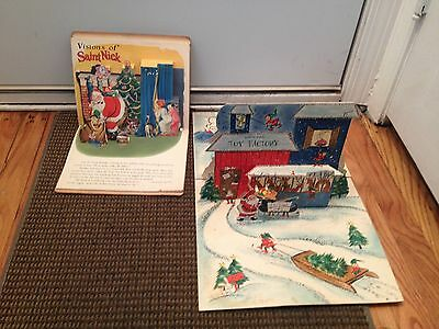 Vintage Christmas Pop Up Large Card Santa' North Pole Toy Factory & Book Lot